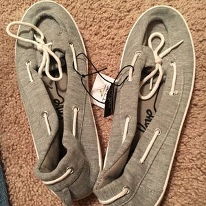 Gray Boat Shoes.